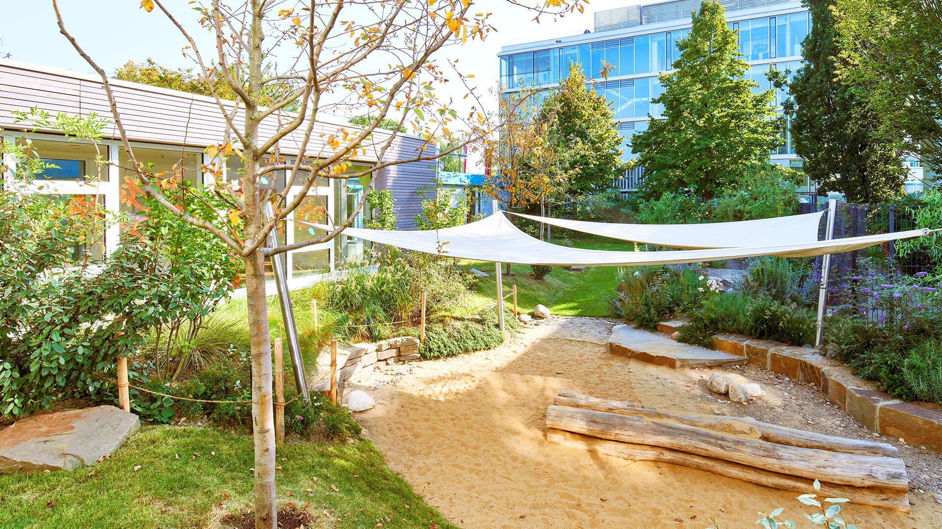 Bäume und Sand-Spielplatz der Kita in Neuss