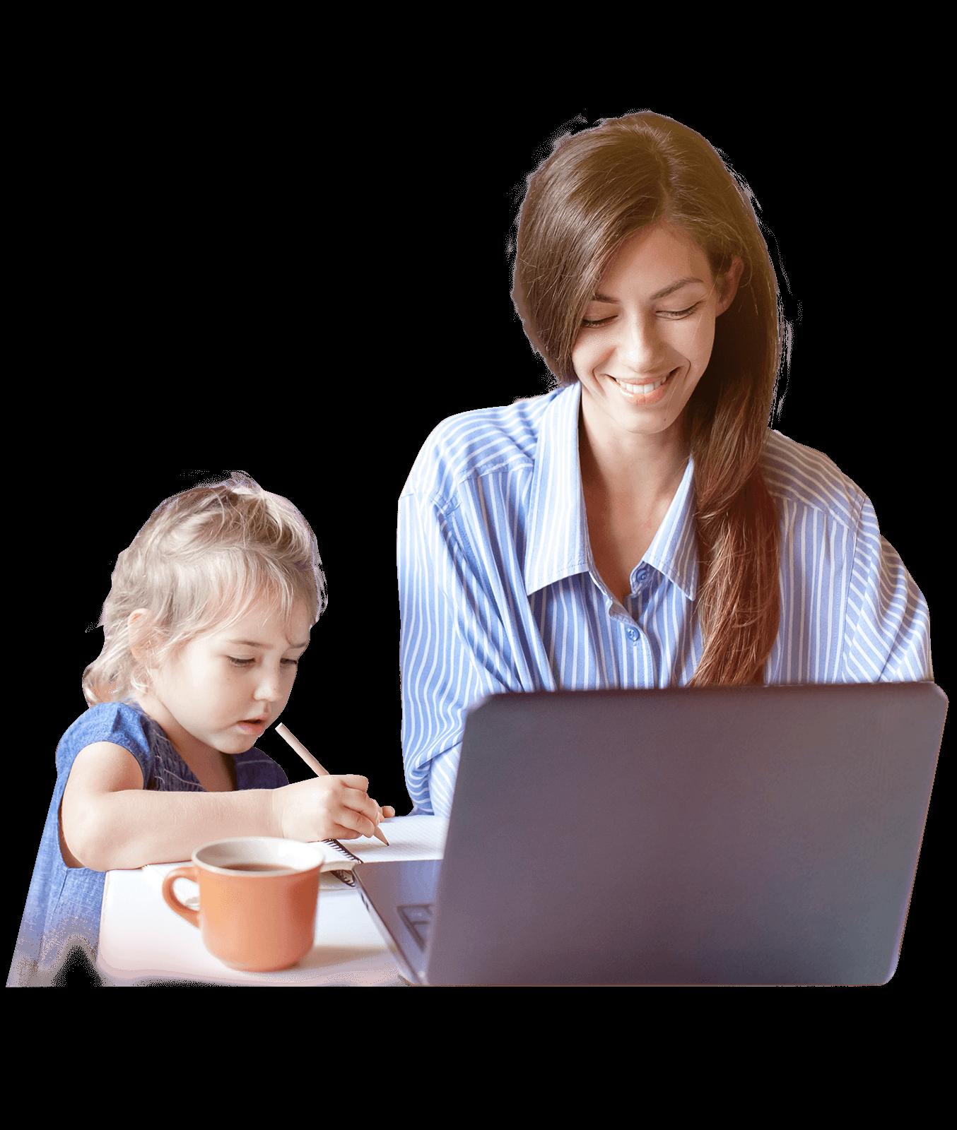 Familyteam Mutter bei der Arbeit mit Kind