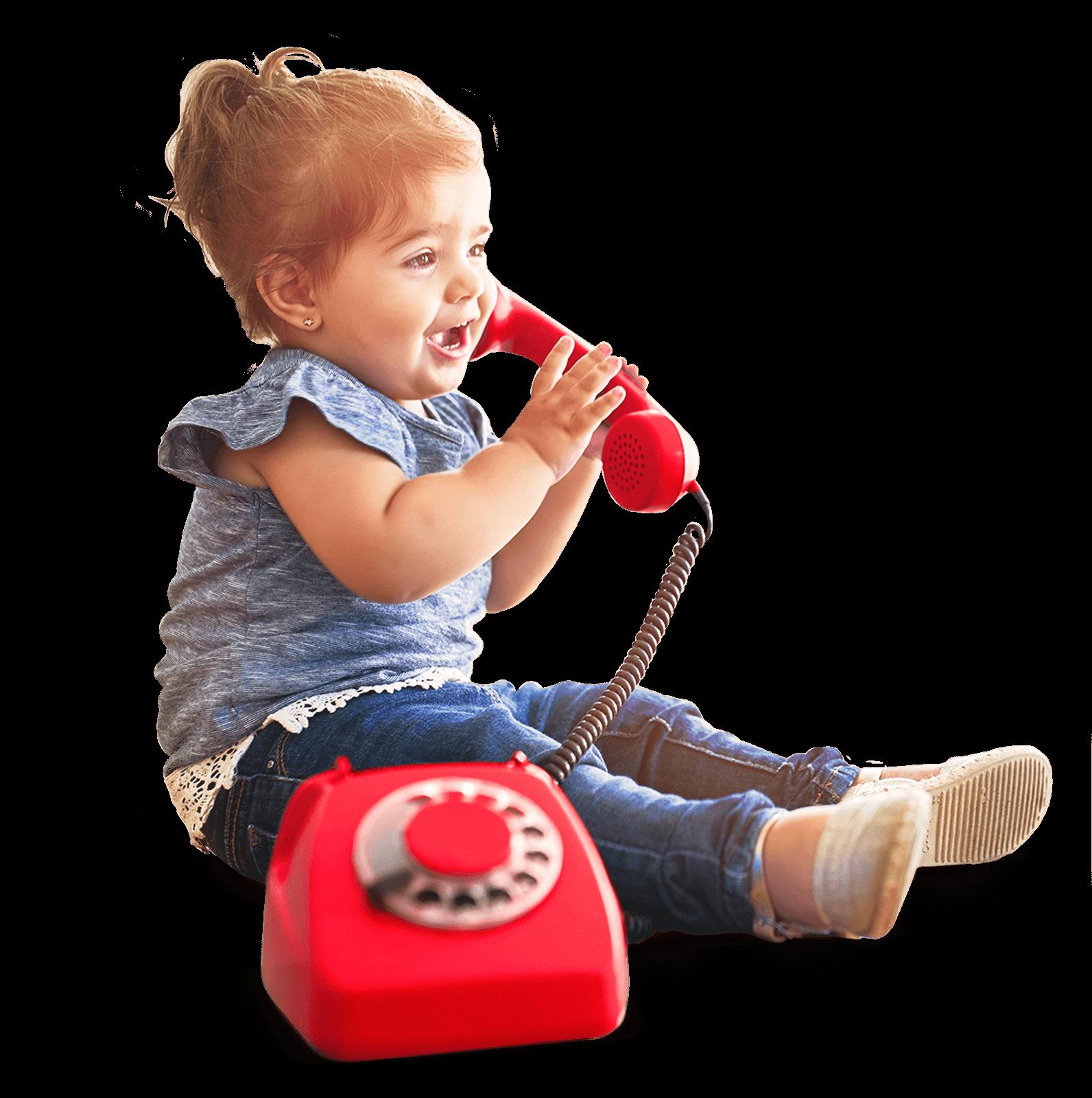 Kontakt Kind spricht mit Spieltelefon