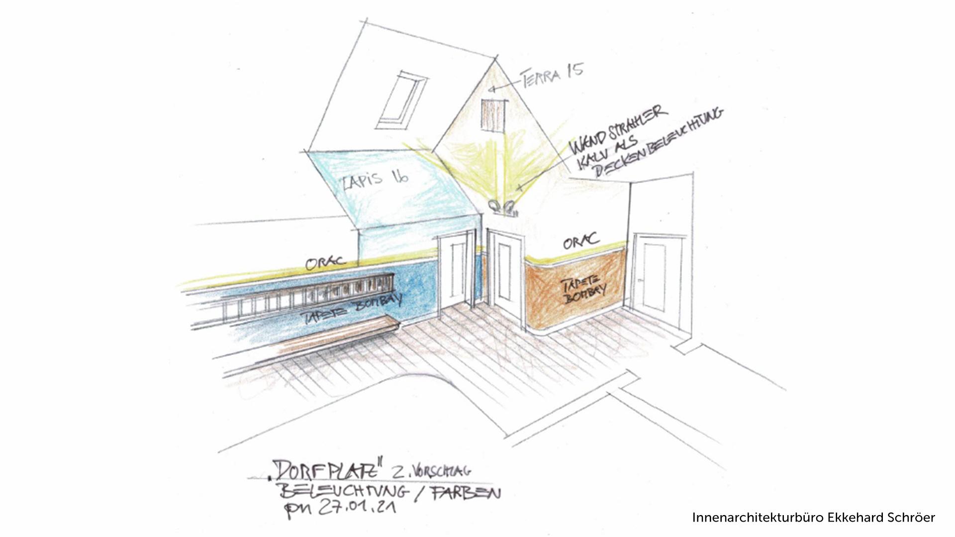 Skizze vom Innenarchitekturbüro Ekkehard Schröer mit Planung der Raum-Beleuchtung und Farben